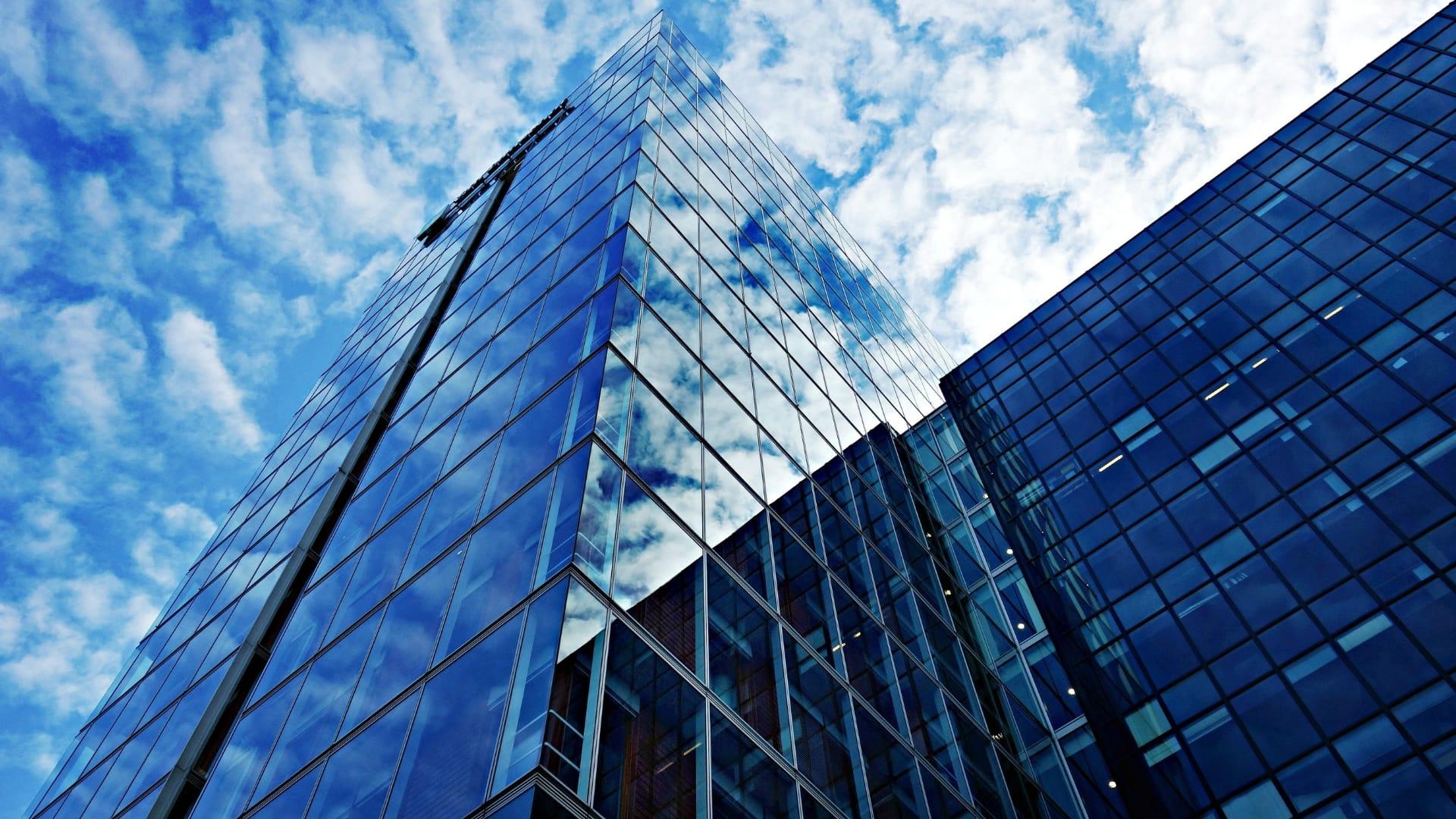 City high rise building skyward